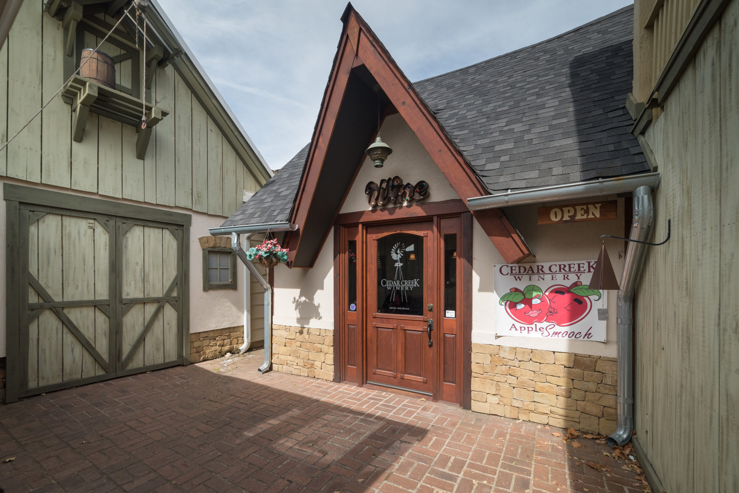 Cedar Creek Wine Tasting Room Entrance in Nashville, Indiana
